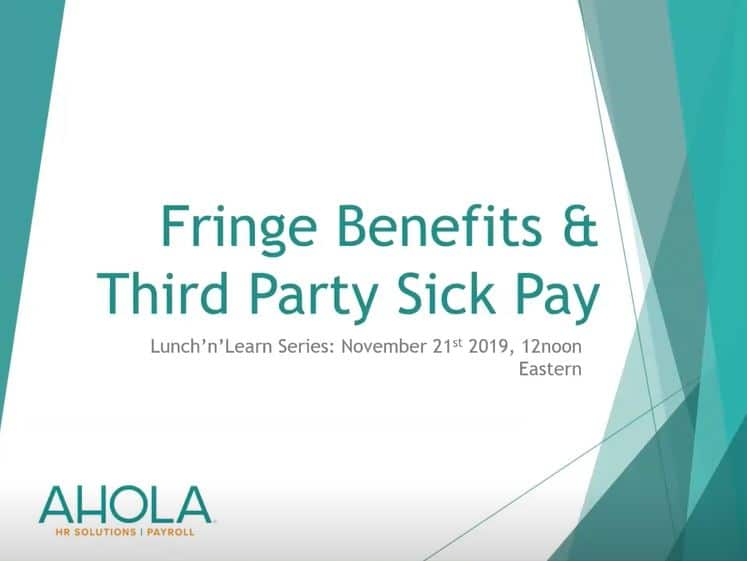 Fringe Benefits & Third Party Sick Pay