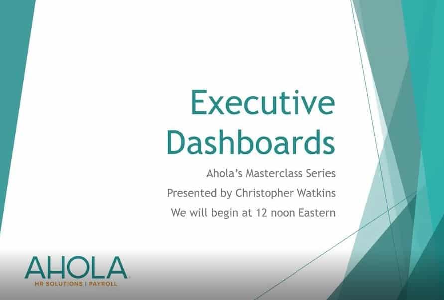 Masterclass Webinar Series: Executive Dashboards