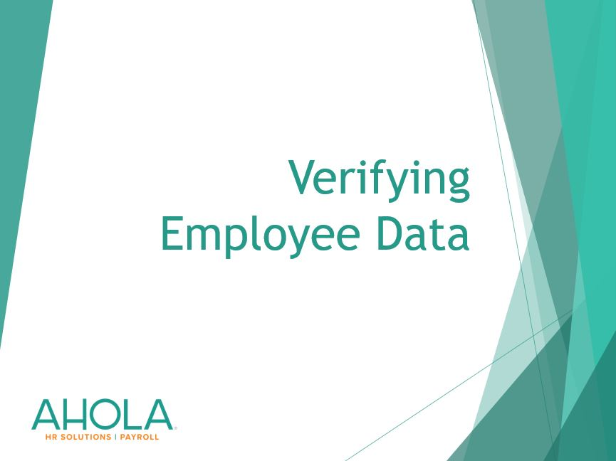 Verifying Employee Data for Year End
